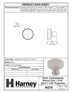 Product Data Specification Sheet Of A Cabinet Knob, Contemporary Round, 1 5/16 In. Diameter - Satin Nickel Finish - Product Number 36270