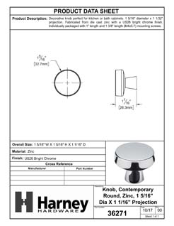 Product Data Specification Sheet Of A Cabinet Knob, Contemporary Round, 1 5/16 In. Diameter - Chrome Finish - Product Number 36271