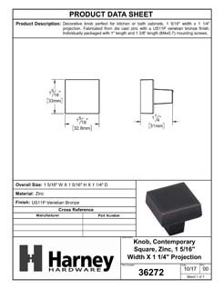 Product Data Specification Sheet Of A Cabinet Knob, Contemporary Square, 1 5/16 In. Wide - Venetian Bronze Finish - Product Number 36272