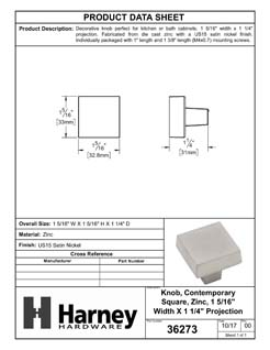Product Data Specification Sheet Of A Cabinet Knob, Contemporary Square, 1 5/16 In. Wide - Satin Nickel Finish - Product Number 36273