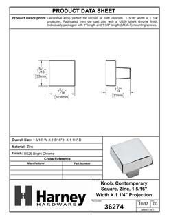 Product Data Specification Sheet Of A Cabinet Knob, Contemporary Square, 1 5/16 In. Wide - Chrome Finish - Product Number 36274