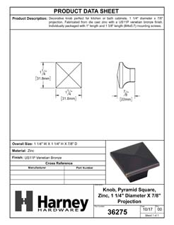 Product Data Specification Sheet Of A Cabinet Knob, Pyramid Square, 1 1/4 In. Wide - Venetian Bronze Finish - Product Number 36275