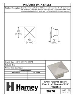 Product Data Specification Sheet Of A Cabinet Knob, Pyramid Square, 1 1/4 In. Wide - Satin Nickel Finish - Product Number 36276