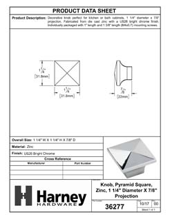 Product Data Specification Sheet Of A Cabinet Knob, Pyramid Square, 1 1/4 In. Wide - Chrome Finish - Product Number 36277