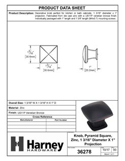 Product Data Specification Sheet Of A Cabinet Knob, Pyramid Square, 1 3/16 In. Wide - Venetian Bronze Finish - Product Number 36278