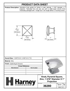 Product Data Specification Sheet Of A Cabinet Knob, Pyramid Square, 1 3/16 In. Wide - Chrome Finish - Product Number 36280