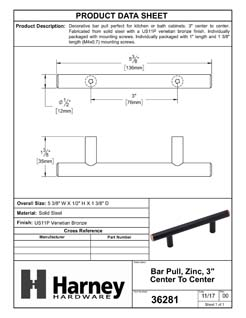 Product Data Specification Sheet Of A Cabinet Bar Pull, 3 In. Center To Center - Venetian Bronze Finish - Product Number 36281
