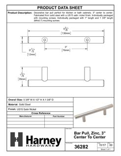 Product Data Specification Sheet Of A Cabinet Bar Pull, 3 In. Center To Center - Satin Nickel Finish - Product Number 36282