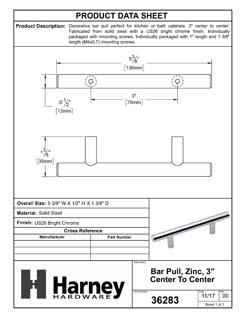 Product Data Specification Sheet Of A Cabinet Bar Pull, 3 In. Center To Center - Chrome Finish - Product Number 36283