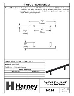 Product Data Specification Sheet Of A Cabinet Bar Pull, 3 3/4 In. Center To Center - Venetian Bronze Finish - Product Number 36284