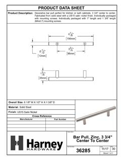 Product Data Specification Sheet Of A Cabinet Bar Pull, 3 3/4 In. Center To Center - Satin Nickel Finish - Product Number 36285