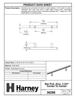 Product Data Specification Sheet Of A Cabinet Bar Pull, 3 3/4 In. Center To Center - Chrome Finish - Product Number 36286
