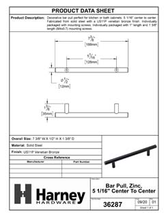 Product Data Specification Sheet Of A Cabinet Bar Pull, 5 1/16  In. Center To Center - Venetian Bronze Finish - Product Number 36287