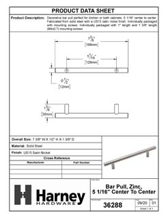 Product Data Specification Sheet Of A Cabinet Bar Pull, 5 1/16 In. Center To Center - Satin Nickel Finish - Product Number 36288