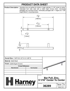Product Data Specification Sheet Of A Cabinet Bar Pull, 5 1/16 In. Center To Center - Chrome Finish - Product Number 36289