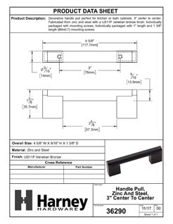 Product Data Specification Sheet Of A Cabinet Handle Pull, Round, 3 In. Center To Center - Venetian Bronze Finish - Product Number 36290