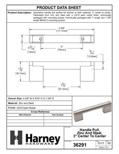 Product Data Specification Sheet Of A Cabinet Handle Pull, Round, 3 In. Center To Center - Satin Nickel Finish - Product Number 36291