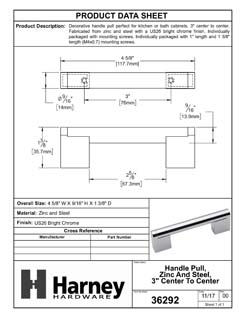 Product Data Specification Sheet Of A Cabinet Handle Pull, Round, 3 In. Center To Center - Chrome Finish - Product Number 36292