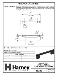 Product Data Specification Sheet Of A Cabinet Handle Pull, Round, 3 3/4 In. Center To Center - Venetian Bronze Finish - Product Number 36293