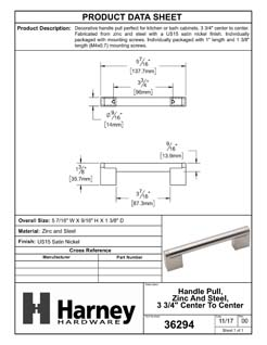Product Data Specification Sheet Of A Cabinet Handle Pull, Round, 3 3/4 In. Center To Center - Satin Nickel Finish - Product Number 36294
