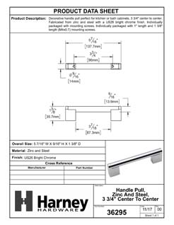 Product Data Specification Sheet Of A Cabinet Handle Pull, Round, 3 3/4 In. Center To Center - Chrome Finish - Product Number 36295