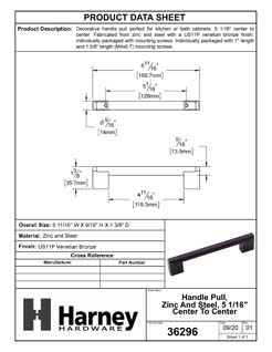 Product Data Specification Sheet Of A Cabinet Handle Pull, Round, 5 In. Center To Center - Venetian Bronze Finish - Product Number 36296