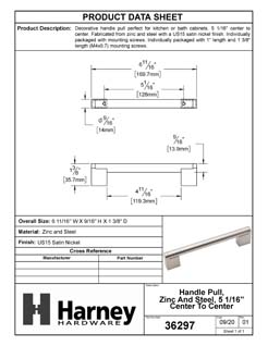 Product Data Specification Sheet Of A Cabinet Handle Pull, Round, 5 1/16 In. Center To Center - Satin Nickel Finish - Product Number 36297