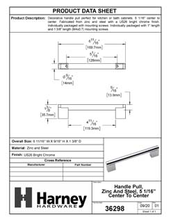 Product Data Specification Sheet Of A Cabinet Bar Pull, 5 1/16 In. Center To Center - Chrome Finish - Product Number 36298