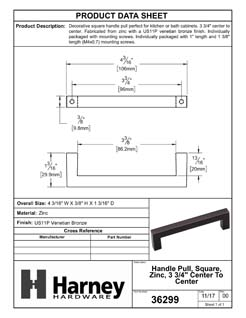 Product Data Specification Sheet Of A Cabinet Handle Pull, Square, 3 3/4 In. Center To Center - Venetian Bronze Finish - Product Number 36299