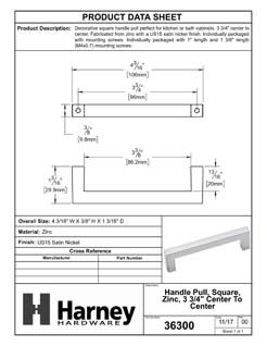 Product Data Specification Sheet Of A Cabinet Handle Pull, Square, 3 3/4 In. Center To Center - Satin Nickel Finish - Product Number 36300