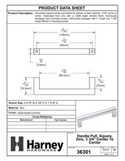 Product Data Specification Sheet Of A Cabinet Handle Pull, Square, 3 3/4 In. Center To Center - Chrome Finish - Product Number 36301