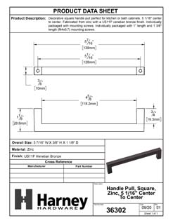 Product Data Specification Sheet Of A Cabinet Handle Pull, Square, 5 1/16 In. Center To Center - Venetian Bronze Finish - Product Number 36302