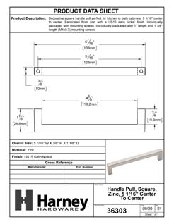Product Data Specification Sheet Of A Cabinet Handle Pull, Square, 5 1/16 In. Center To Center - Satin Nickel Finish - Product Number 36303
