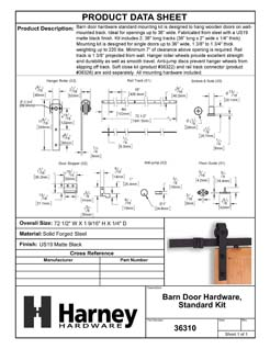 Product Data Specification Sheet Of A Barn Door Hardware, Standard Kit, 72 In. - Matte Black Finish - Product Number 36310
