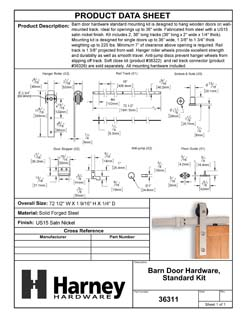 Product Data Specification Sheet Of A Barn Door Hardware, Standard Kit - Satin Nickel Finish - Product Number 36311