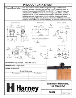 Product Data Specification Sheet Of A Barn Door Hardware, Top Mount Kit - Matte Black Finish - Product Number 36312