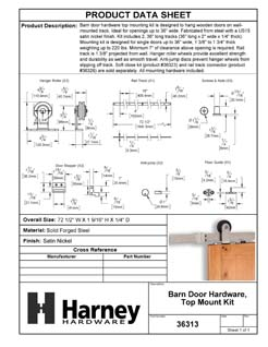 Product Data Specification Sheet Of A Barn Door Hardware, Top Mount Kit - Satin Nickel Finish - Product Number 36313
