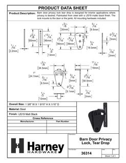 Product Data Specification Sheet Of A Barn Door Privacy Lock, Tear Drop - Matte Black Finish - Product Number 36314