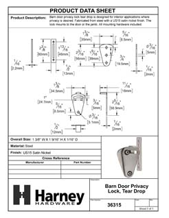 Product Data Specification Sheet Of A Barn Door Privacy Lock, Tear Drop - Satin Nickel Finish - Product Number 36315