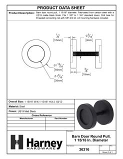 Product Data Specification Sheet Of A Barn Door Round Pull, 1 15/16 In. Diameter - Matte Black Finish - Product Number 36316