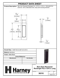 Product Data Specification Sheet Of A Barn Door Recessed Rectangle Pull, 4 3/4 In. Long - Matte Black Finish - Product Number 36318