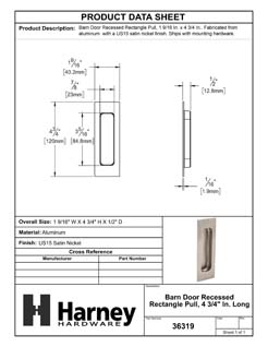 Product Data Specification Sheet Of A Barn Door Recessed Rectangle Pull, 4 3/4 In. Long - Satin Nickel Finish - Product Number 36319