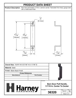 Product Data Specification Sheet Of A Barn Door Pull Handle, 5 5/8 In. Center To Center - Matte Black Finish - Product Number 36320