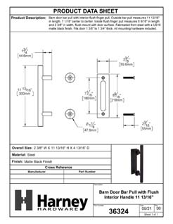 Product Data Specification Sheet Of A Barn Door Bar Pull With Flush Interior Finger Grip - Matte Black Finish - Product Number 36324