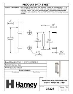 Product Data Specification Sheet Of A Barn Door Bar Pull With Flush Interior Finger Grip - Satin Nickel Finish - Product Number 36325