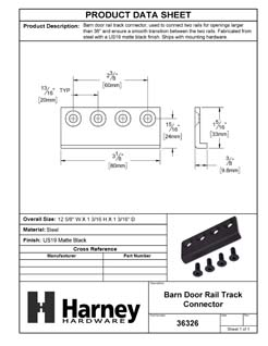 Product Data Specification Sheet Of A Barn Door Track Connector - Matte Black Finish - Product Number 36326