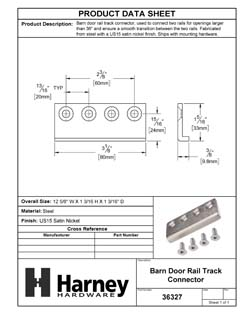 Product Data Specification Sheet Of A Barn Door Track Connector - Satin Nickel Finish - Product Number 36327