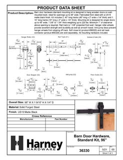 Product Data Specification Sheet Of A Barn Door Hardware, Standard Kit,  96 In. - Matte Black Finish - Product Number 36330