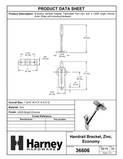 Product Data Specification Sheet Of A Handrail Bracket - Chrome Finish - Product Number 36606