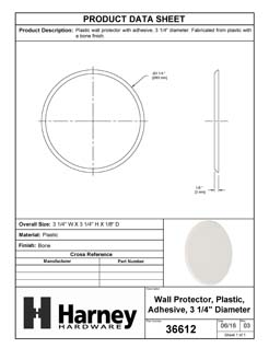 Product Data Specification Sheet Of A Door Knob Wall Protector With Adhesive Backing, 3 In. Diameter - Beige Finish - Product Number 36612